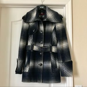 Wool Blend Navy/White Plaid Pea Coat with Belt